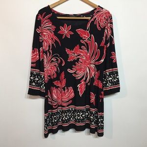 Investments Black Red Floral Knit Tunic Top XL